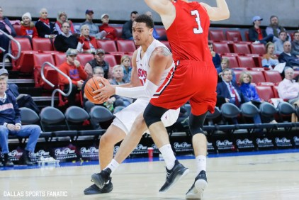 SMU forward Ethan Chargois drives the basket during the first half of the game between Southern Methodist University and Hartford on November 27, 2019 at Moody Coliseum in Dallas, Tx. (Photo by Joseph Barringhaus/Dallas Sports Fanatics)