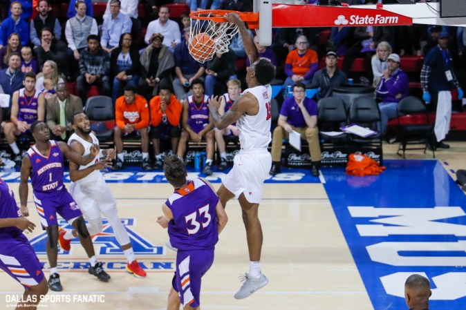 SMU forward Isiaha Mike finishes an alley-oop during the game against Northwestern State on December 3, 2019 at Moody Coliseum in Dallas, Tx. (Photo by Joseph Barringhaus/Dallas Sports Fanatic)