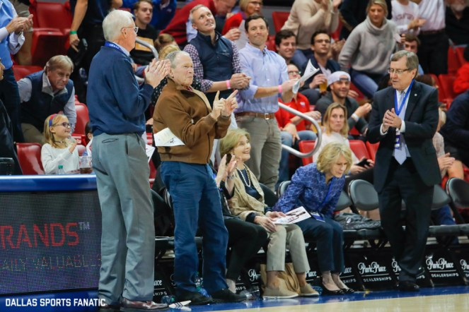 President George W Bush stands for an applause during the game between SMU and Jacksonville State on November 5, 2019 at Moody Coliseum in Dallas, Tx. (Photo by Joseph Barringhaus/Dallas Sports Fanatic)