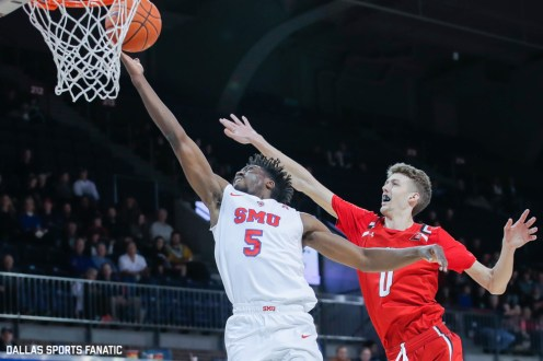SMU guard Emmanuel Bandoumel goes up for a layup during the second half of the game against Hartford on November 27, 2019 at Moody Coliseum in Dallas, Tx. (Photo by Joseph Barringhaus/Dallas Sports Fanatic)