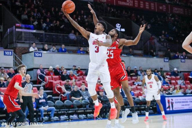 SMU guard Kendric Davis reaches out for a layup during the game between Southern Methodist University and Hartford on November 27, 2019 at Moody Coliseum in Dallas, Tx. (Photo by Joseph Barringhaus/Dallas Sports Fanatic)
