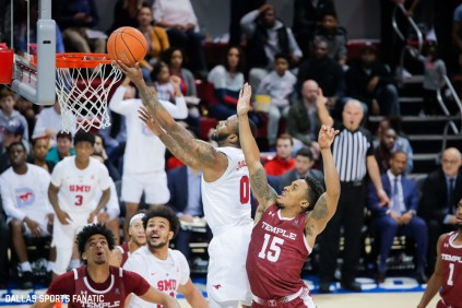 SMU guard Tyson Jolly goes up for a layup during the second half of the game against Temple on January 18, 2020, at Moody Coliseum in Dallas, Tx. (Photo by Joseph Barringhaus/Dallas Sports Fanatic)
