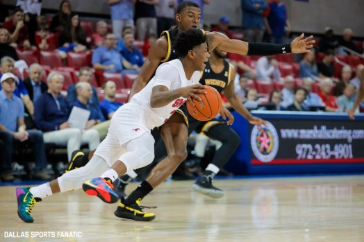 SMU guard Kendrick Davis (3) drives past a Wichita State defenseman during the American Athletic Conference college basketball game between the SMU Mustangs and the Wichita State Shockers on March 1, 2020 at Moody Coliseum in Dallas, Texas. (Photo by Joseph Barringhaus/Dallas Sports Fanatic)