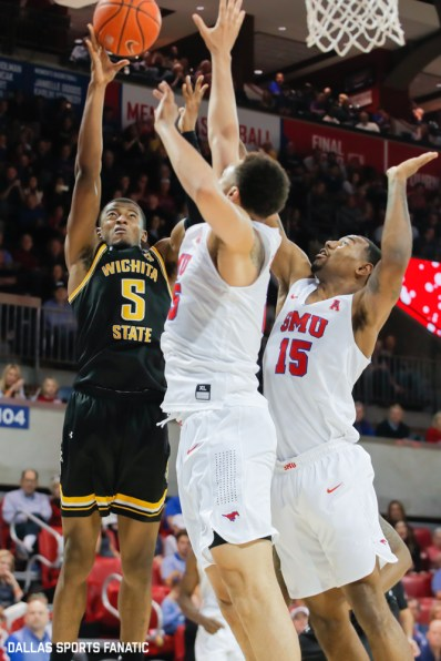 Wichita State guard Emmanuel Bandoumel (5) goes up fora basket during the American Athletic Conference college basketball game between the SMU Mustangs and the Wichita State Shockers on March 1, 2020 at Moody Coliseum in Dallas, Texas. (Photo by Joseph Barringhaus/Dallas Sports Fanatic)