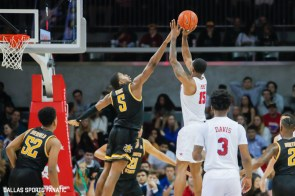 SMU forward Isiaha Mike (15) takes a shot during the American Athletic Conference college basketball game between the SMU Mustangs and the Wichita State Shockers on March 1, 2020 at Moody Coliseum in Dallas, Texas. (Photo by Joseph Barringhaus/Dallas Sports Fanatic)