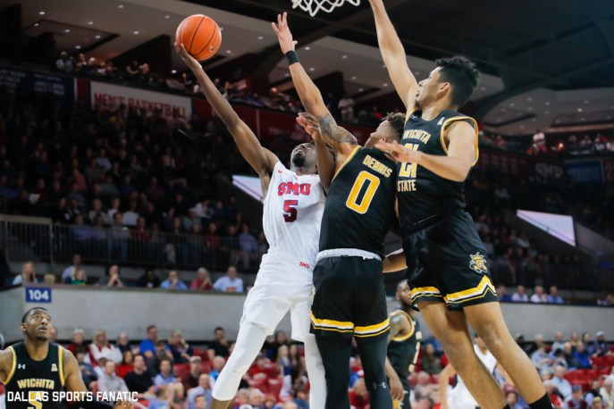 Wichita State guard Emmanuel Bandoumel (5) reaches out for a layup during the American Athletic Conference college basketball game between the SMU Mustangs and the Wichita State Shockers on March 1, 2020 at Moody Coliseum in Dallas, Texas. (Photo by Joseph Barringhaus/Dallas Sports Fanatic)