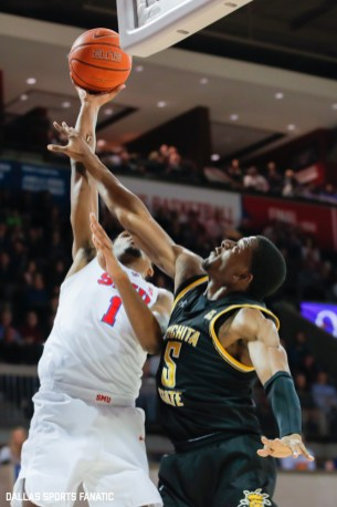 SMU forward Feron Hunt (1) goes up for a basket during the American Athletic Conference college basketball game between the SMU Mustangs and the Wichita State Shockers on March 1, 2020 at Moody Coliseum in Dallas, Texas. (Photo by Joseph Barringhaus/Dallas Sports Fanatic)