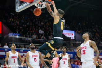 Wichita State guard Dexter Dennis (0) dunks during the American Athletic Conference college basketball game between the SMU Mustangs and the Wichita State Shockers on March 1, 2020 at Moody Coliseum in Dallas, Texas. (Photo by Joseph Barringhaus/Dallas Sports Fanatic)