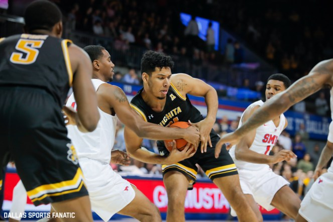 Wichita State center Jaime Echenique (1) fights for the ball during the American Athletic Conference college basketball game between the SMU Mustangs and the Wichita State Shockers on March 1, 2020 at Moody Coliseum in Dallas, Texas. (Photo by Joseph Barringhaus/Dallas Sports Fanatic)