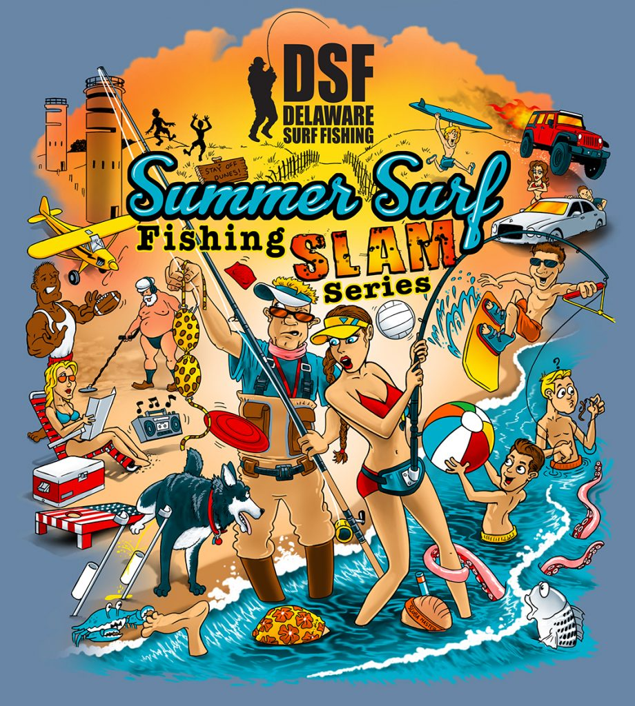 DSF's Summer Surf Fishing Series Slam, fishing tournament, delaware, sussex county, beaches,  delaware state parks, old inlet, indian river inlet, fenwick island, dewey beach, rehoboth beach, bethany beach, lewes beach, broadkill beach, beach plum island state park, cape henlopen state park, delaware seashore state park, fenwick ilsand state park, bay beaches, surf fishing tournament, delaware surf fishing