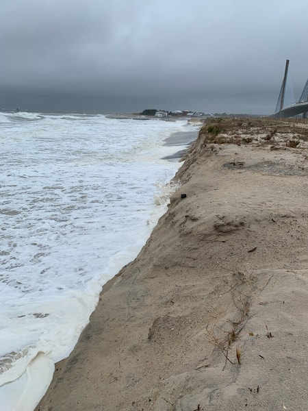 hurricane dorian storm surge, indian river inlet, north beach, sussex county, delaware seashore state park