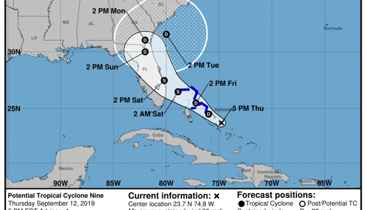 Projected path of invest 95L soon to be upgraded to a tropical storm