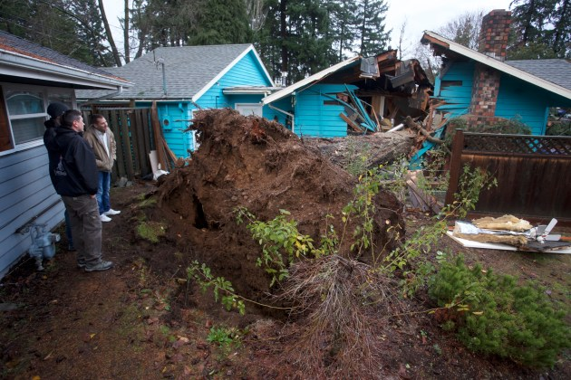 Workers survey damage from a large fir tree that fell on a house overnight and killed a 60-year-old woman in Portland, Ore., Wednesday, Dec. 9, 2015. as the Pacific Northwest was soaked by another night of heavy rain. More than 5 inches of rain have fallen on Portland since Sunday, and strong winds have uprooted trees from the saturated ground. (AP Photo/Steve Dipaola)