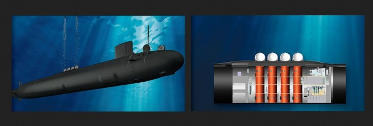 drawing of a submarine and missile tubes