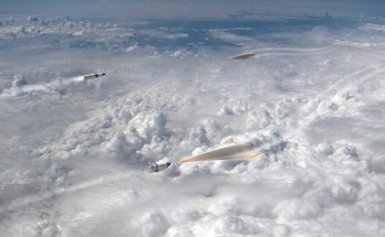 artist rendering of missiles intercepting hypersonic glide vehicles above the clouds