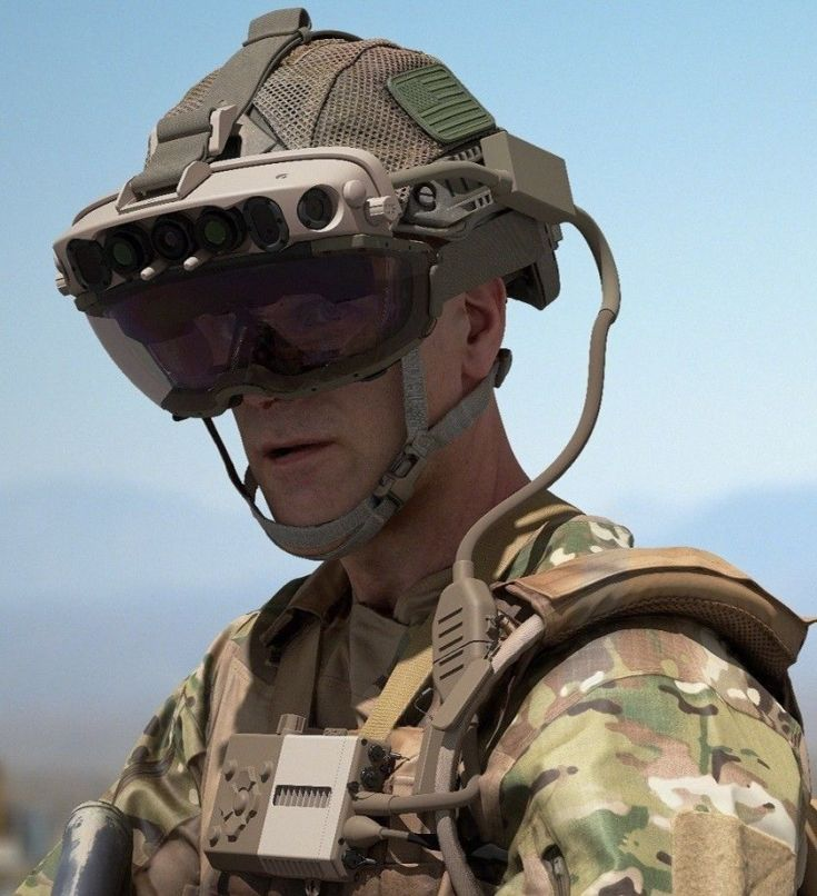 a soldier wearing augmented reality goggles