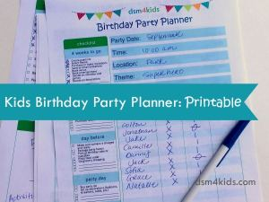 Kids Birthday Party Planner: Printable