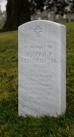 The headstone of Joseph Kennedy, Jr. stands somberly on the grounds of the Arlington National Cemetery.