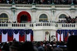 Kelly Clarkson performs to an enormous crowd during the inauguration.