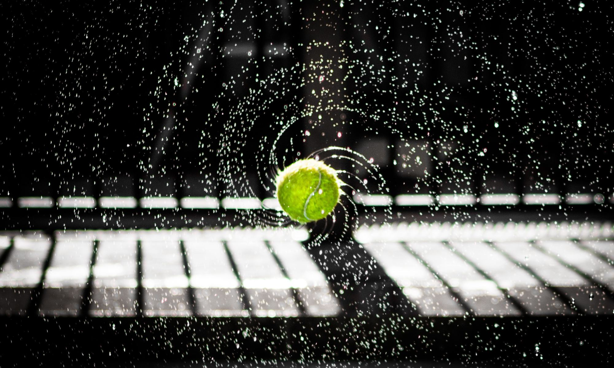 Time lapse photo of green tennis ball flying in air