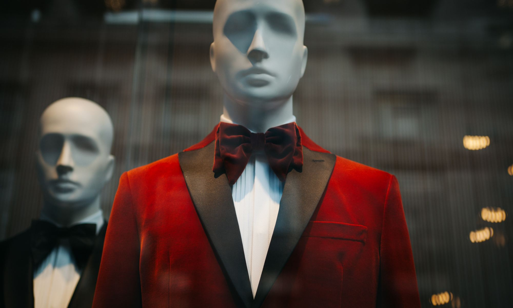Mannequin wearing red bowtie and suit