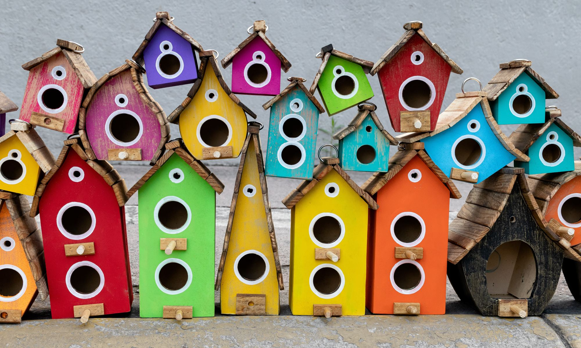 Colorful wooden birdhouses