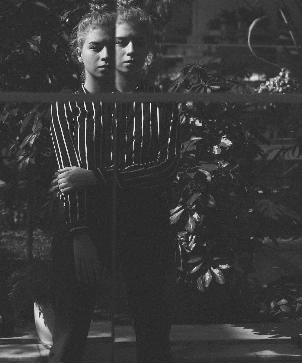 Split photography of girl in front of plants