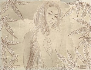 Cannabis legal states - drawing of woman holding hair next to cannabis leaves