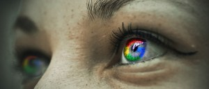 Comparing yourself to others: eyes with colors of Google logo