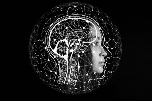Daily positive affirmations - Sagittal view of human brain and face