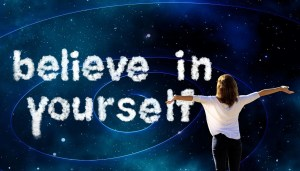 Never stop believing - white woman with open arms