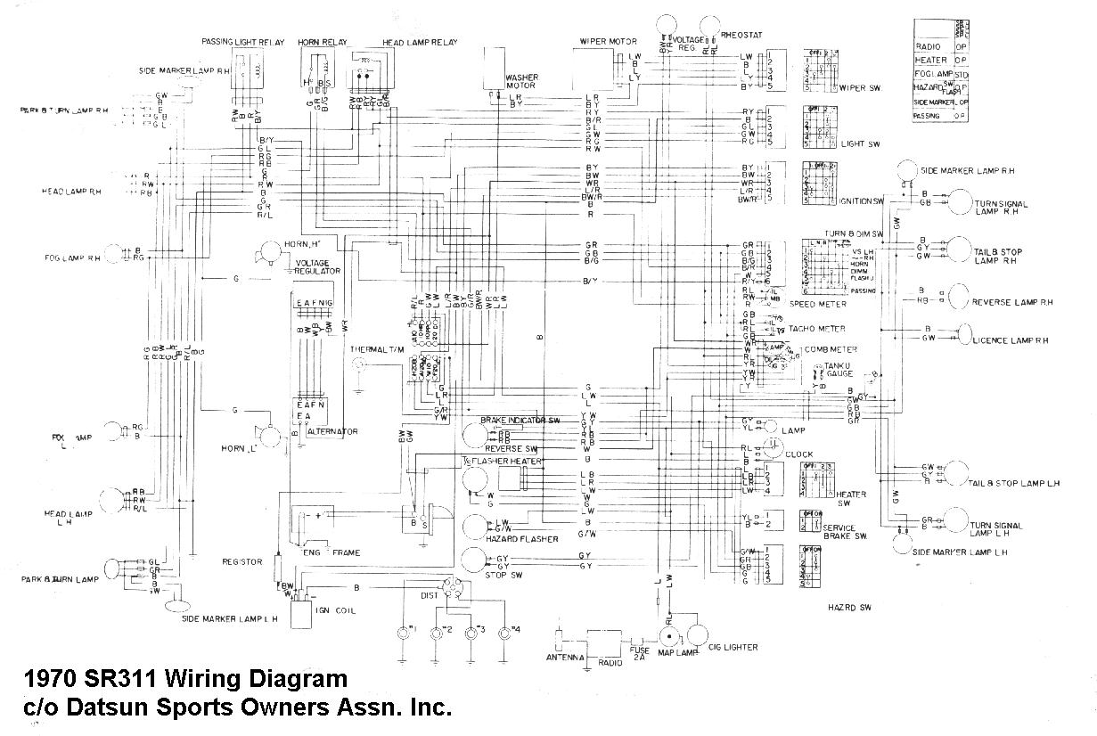 datsun 1600 wiring diagram auto electrical wiring diagram 1970 Datsun 1600 Roadster datsun sports technical data for technical information