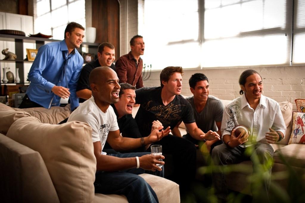 Guys cheering