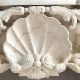 Fine grained French Limestone fireplace detail
