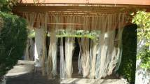 Multicoloured tulle curtain for the entrance way