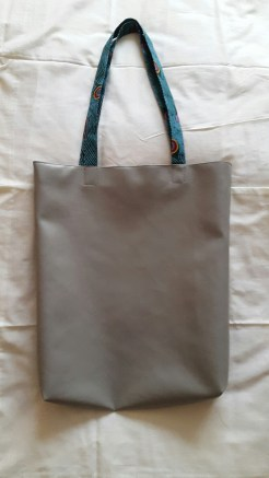 Faux Leather Tote with Print Straps