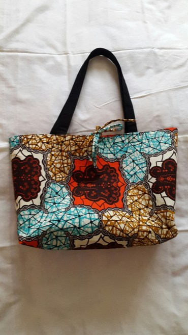 Printed Shopper Bag with tie closure
