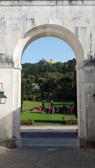 View of the ceremony area and the palace at the top of the hill.
