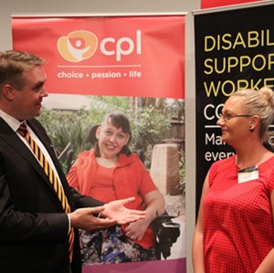 CPL CEO Rhys Kennedy and Kayla Hindley discussing the days events