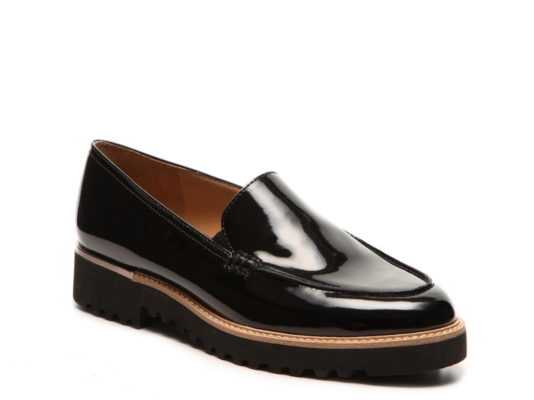 Black Leather Slip On Loafers Womens