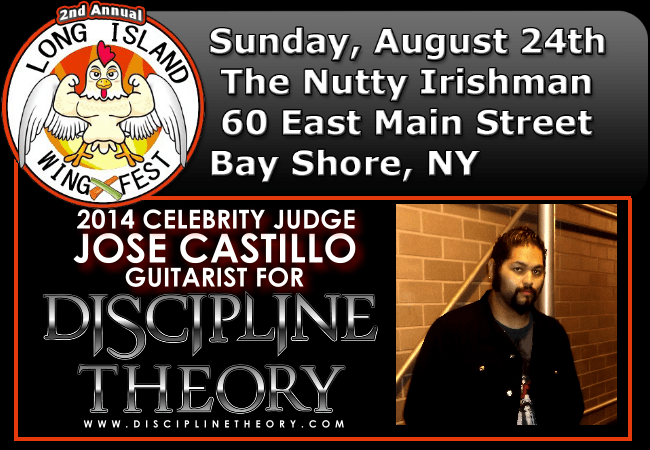 Long Island Buffalo Wing Fest with Jose Castillo from Discipline Theory as one of the Celebrity Judges