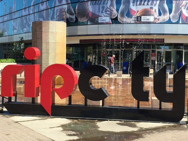 Moda Center Rip City sign Portland Trail Blazers arena events seating parking