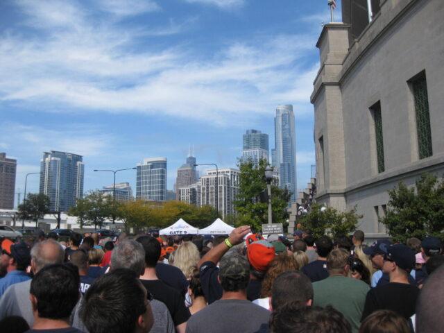 Fans at stadium gate