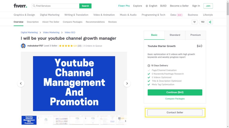 Fiverr screenshot - contact seller button