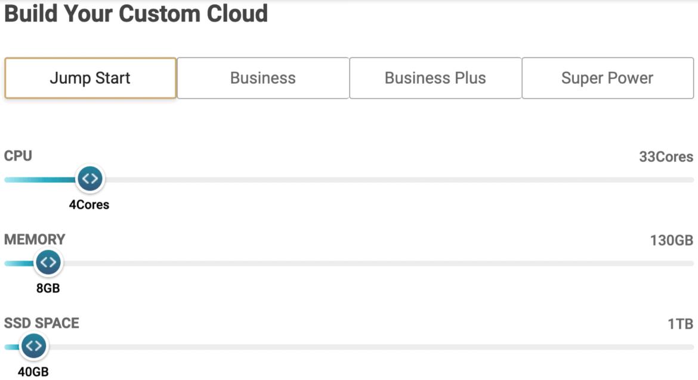SiteGround custom cloud resource configuration sliders