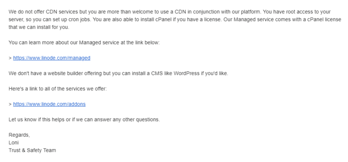 Linode support email response
