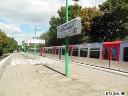 DT5 sind in Großhansdorf nur s e h r selten anzutreffen. Normalerweise fahren sie immer nach Ohlstedt, weil es dort kein Problem darstellt, wenn er a) verspätet ist oder b) als Sonderzug fährt. Der DT5 fuhr während des Testbetriebs zwischen November 2012 und Juni 2013 ein Mal wöchentlich bis Großhansdorf.