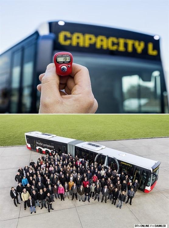 """Und hier noch der """"Beweis"""": Es ist Platz für 191 Fahrgäste. Sportlich, denn es wird mit 8 Fahrgästen pro Quadratmeter gerechnet. Die HOCHBAHN legt den Bus auf etwa 50 Plätze weniger aus, mit 6 Personen/qm. Beweisvideos zufolge passten tatsächlich all diese Personen in den Bus, wie auch immer das geschehen sein mag."""
