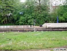 Die Bahnsteigkanten wurden endlich verbaut, sie lagen seit vergangenem Sommer auf der Wiese zwischen den Gleisen.