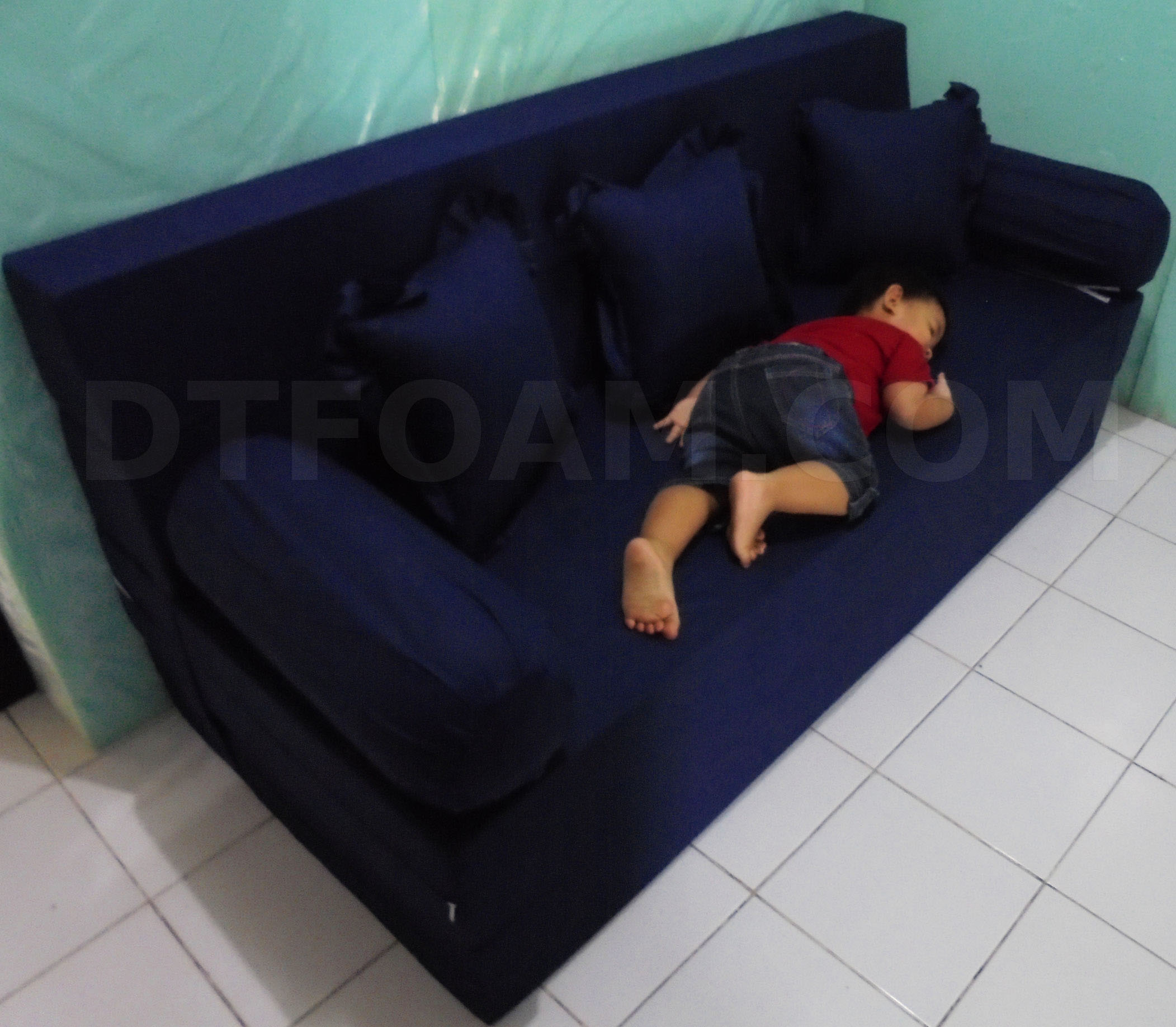 sofa bed kasur busa lipat inoac jakarta lazy boy sets dimana toko tempat beli di online dtfoam com tidur dan biru tua polos
